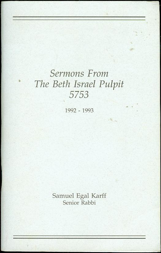 Image for Sermons From The Beth Israel Pulpit 5753 (1992-1993)