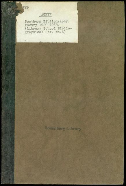 Image for A Southern Bibliography: Poetry 1929-1938