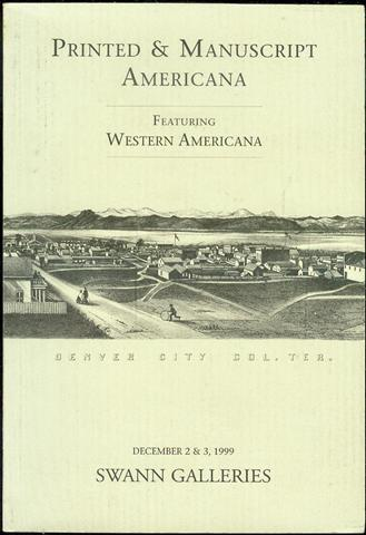 Image for Printed & Manuscript Americana: Featuring Western Americana (Public Auction Sale 1843, December 2 & 3, 1999)