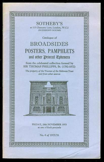 Image for Catalogue of Broadsides, Posters, Pamphlets and Other Printed Ephemera