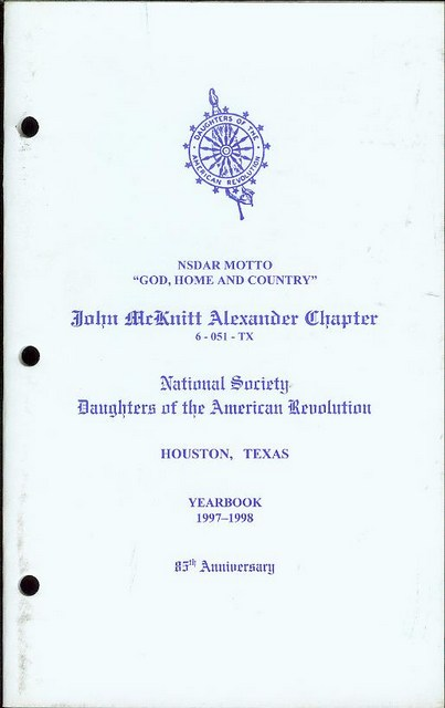 Image for National Society Daughters of the American Revolution Yearbook 1997-1998 (John McKnitt Alexander Chapter, Houston, Texas)
