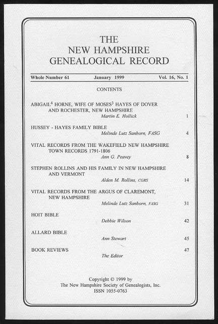 Image for The New Hampshire Genealogical Record (Vol. 16, No. 1, January 1999)