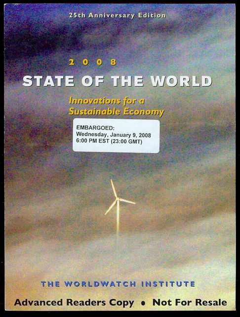 Image for State of the World 2008: Toward a Sustainable Global Economy