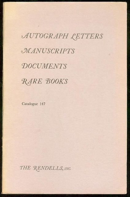 Image for Autograph Letters, Manuscripts, Documents (Catalogue 147)