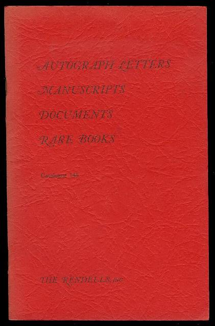 Image for Autograph Letters, Manuscripts, Documents (Catalogue 145)