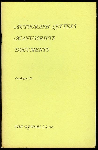 Image for Autograph Letters, Manuscripts, Documents (Catalogue 151)