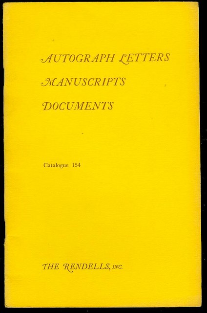Image for Autograph Letters, Manuscripts, Documents (Catalogue 154)