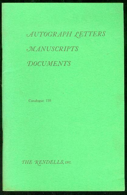 Image for Autograph Letters, Manuscripts, Documents (Catalogue 159)