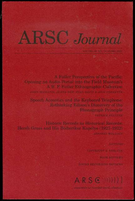 Image for ARSC Journal (Volume 38, No. 1, Spring 2007)