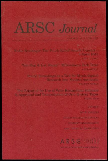 Image for ARSC Journal (Volume 38, No. 2, Fall 2007)