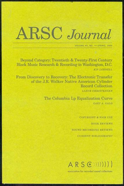 Image for ARSC Journal (Volume 40, No. 1, Spring 2009)