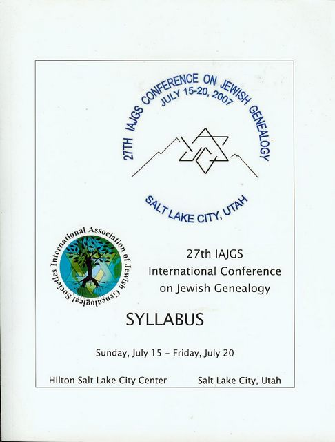 Image for 27th IAJGS International Conference on Jewish Genealogy: SYLLABUS