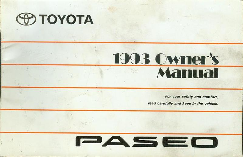 Image for 1993 Toyota Paseo Owner's Manual