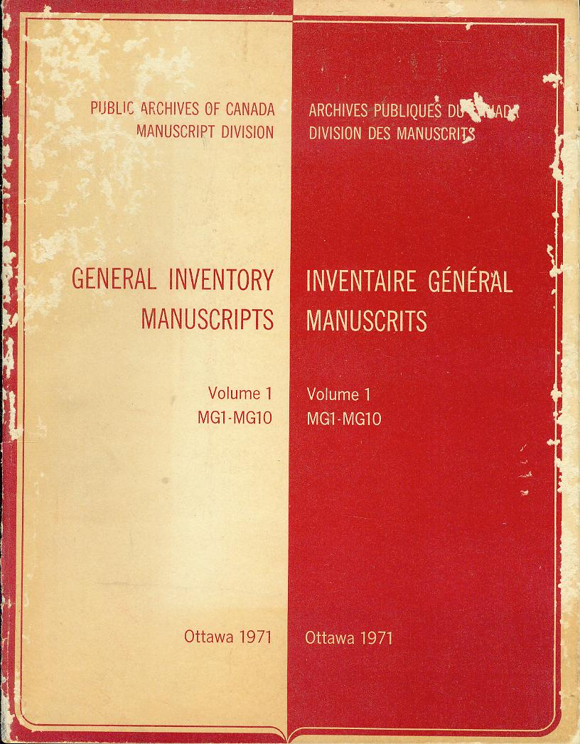 Image for General Inventory Manuscripts: Volume 1 - MG1-MG10 / Inventaire General Manuscrits: Volume 1 - MG1-MG10