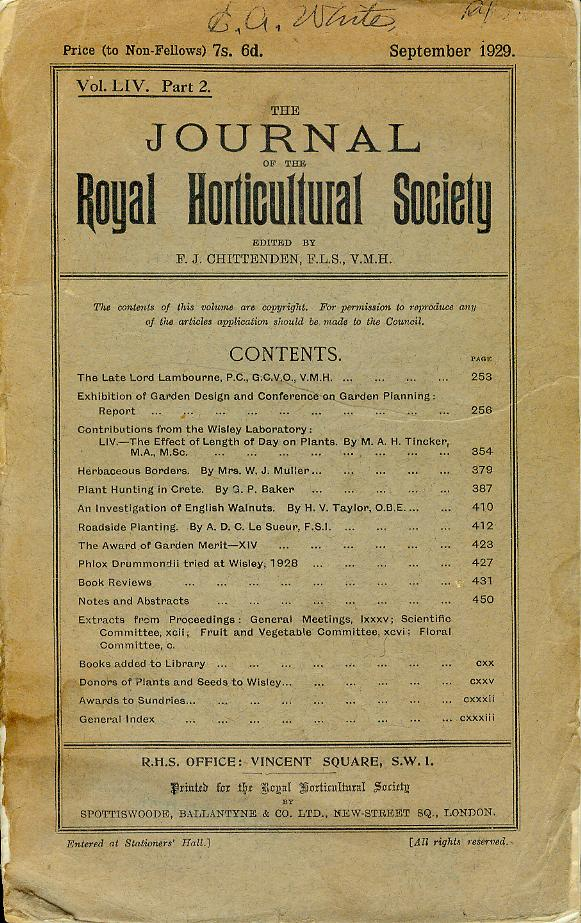 Image for The Journal of the Royal Horticultural Society (Vol. LIV, Part 2, September 1929)
