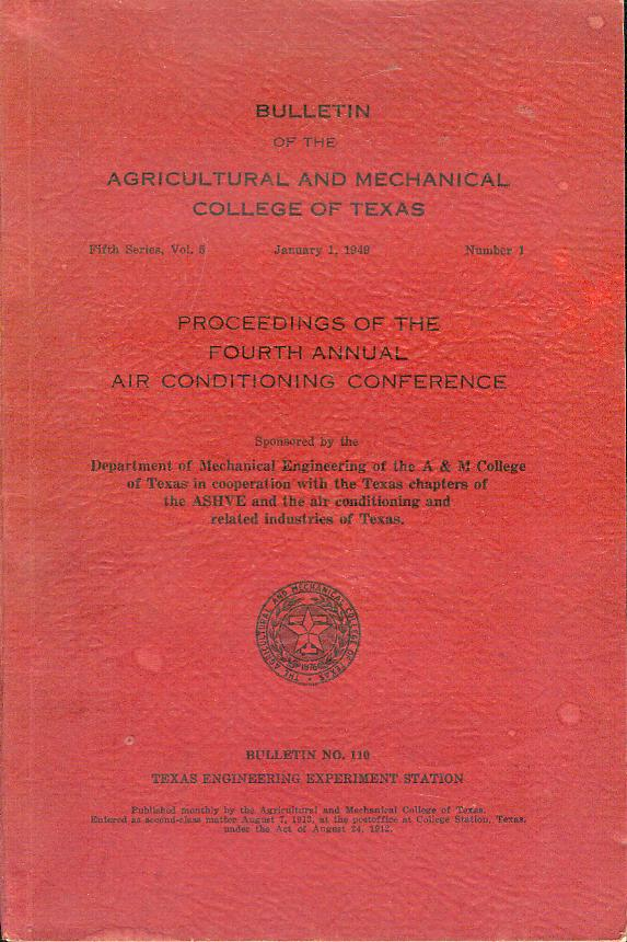 Image for Proceedings of the Fourth Annual Air Conditioning Conference (Bulletin No. 110)