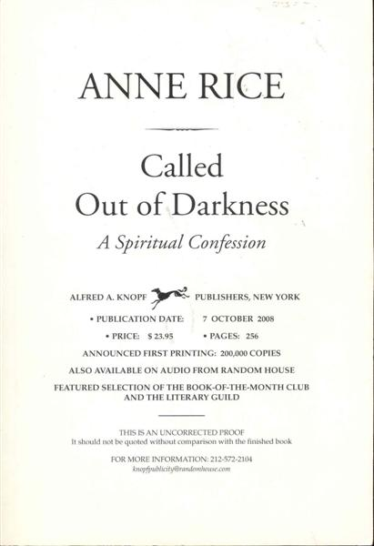 Image for Called Out of Darkness: A Spiritual Confession