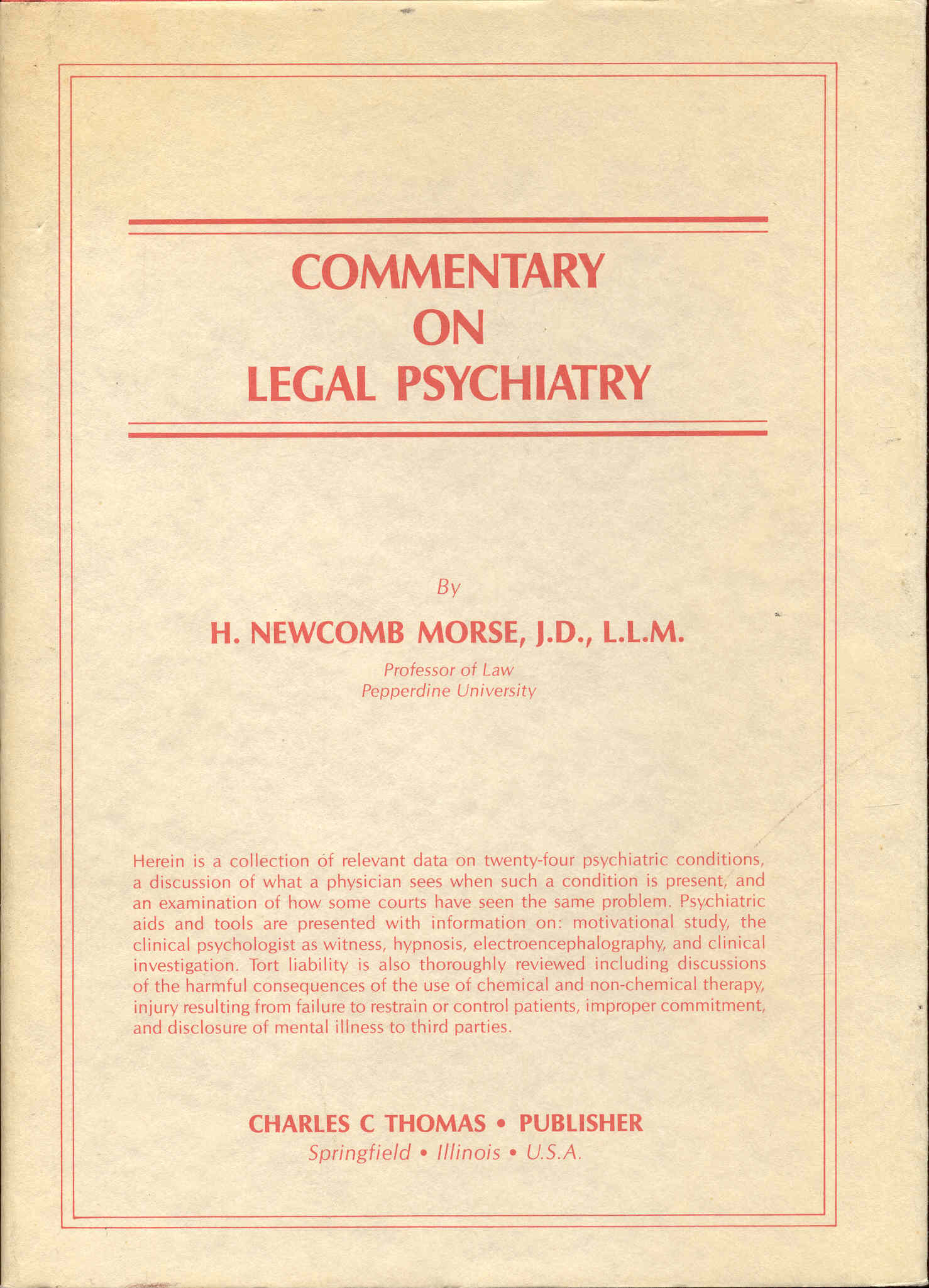 Image for Commentary on Legal Psychiatry