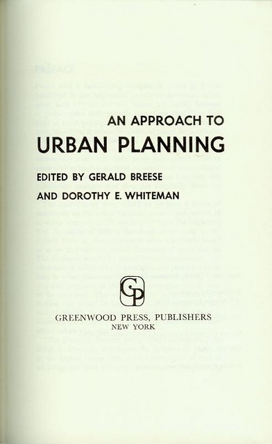 Image for An Approach to Urban Planning