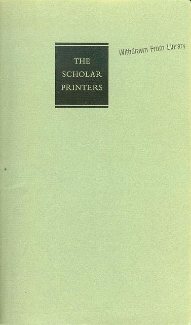 Image for The Scholar Printers