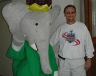 color photograph of Marc Williams with Babar at the 2008 Texas Book Festival