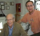 color photograph of Laurent de Brunhoff and Marc Williams at the 2008 Texas Book Festival