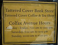 A color photograph of the back door of Denver's Tattered Cover book store on Colfax Avenue Summer 2009.