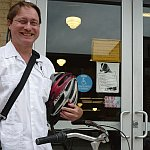 A color photograph of Steven Williams after a bike ride to Denver's Tattered Cover book store on Colfax Avenue Summer 2009.